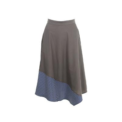 stripe pointed flare long skirt
